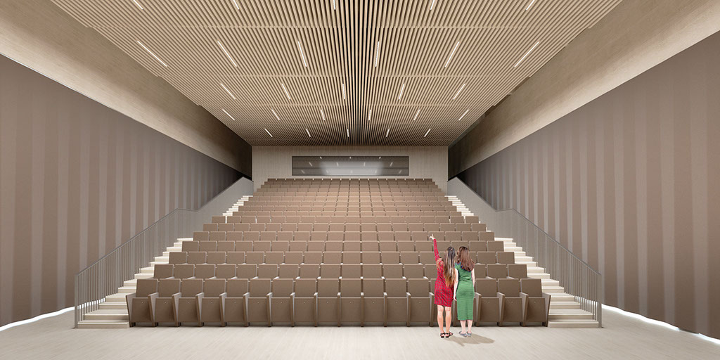 Performance Hall with closed curtains and acoustic ceiling